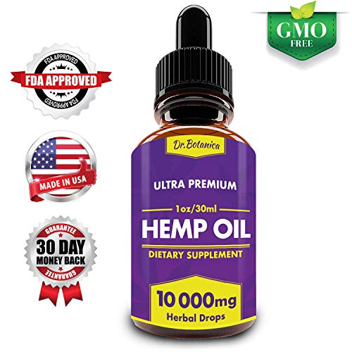Hemp Oil Drops, 10000mg, Full Spectrum, 100% Organic, Natural CO2 Extracted, Pain, Stress, Anxiety Relief, Aids Sleep, Vegan