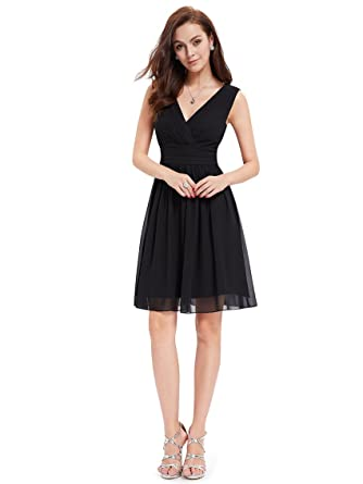 8c3902b91b Ever-Pretty Womens Double V Neck Ruched Waist Short Party Dress 4 US Black