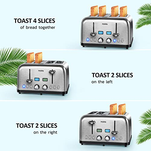 4 Slice Toaster, HOLIFE Stainless Steel Toaster [2 LCD Timer Display] Bagel Toaster (6 Bread Shade Settings, Bagel/Defrost/Reheat/Cancel Function, Wide Slots, Removable Crumb Tray, 1500W, Silver) by Holife (Image #1)