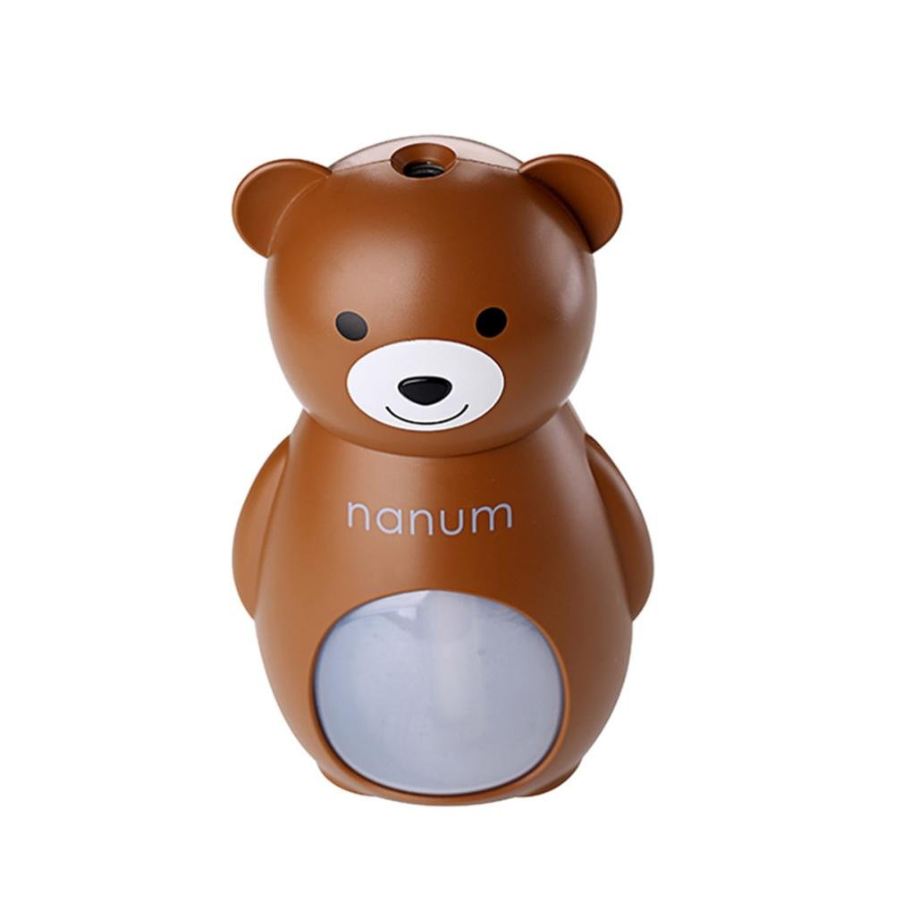 BESSKY 160ML ABS Cute Bear LED Lamp Small USB Humidifier Air Diffuser Purifier Atomizer for Office Home Bedroom Living Room Study Yoga Spa