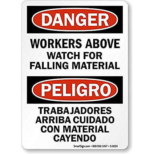 Danger: Workers Above Watch for Falling Material, Heavy-Duty Aluminum Sign, 80 mil, 8
