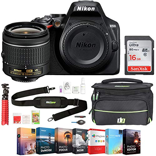 Nikon D3500 24.2MP DSLR Camera with AF-P DX NIKKOR 18-55mm f/3.5-5.6G VR Lens Bundle with 16GB Memory Card, Photo and Video Professional Editing Suite and Camera Bag for DSLR Cameras