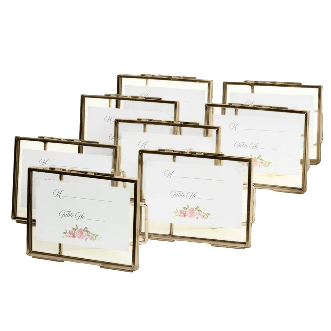 Koyal Wholesale Pressed Glass Floating Photo Frames 8-Pack with Stands for Horizontal or Vertical Pictures, Table Numbers, Place Cards (3 x 4, Antique Brass)