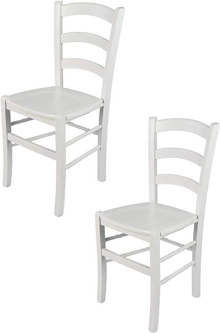 tmcs Tommychairs Set 2 sedie Classiche Venezia per Cucina e Sala da Pranzo, Struttura e Seduta in Legno di faggio Laccato Bianco