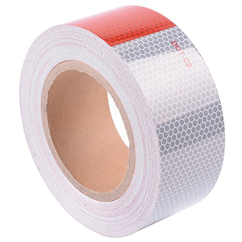 DOT-C2 Reflective Tape, Red & White, 2'' Inch X 75' Foot, Safety Warning Conspicuity Tape by Moonway