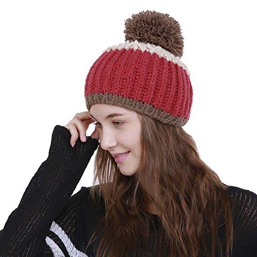 Rayure Chapeau Crochet Tricot Rouge Acvip Perpendiculaire Femme Bonnet Avec Pompon HqYnIFw