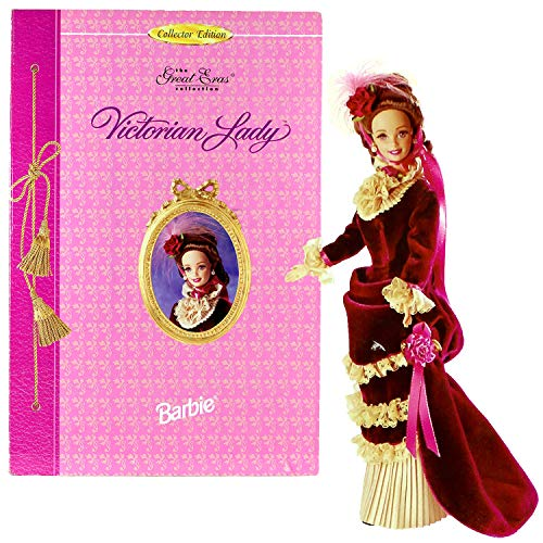 (Year 1995 Barbies Collector Edition The Great ERAS Collection - Volume Eight Series 12 Inch Doll Set - Victorian Lady with Velvet Gown, Faux Pearl Earrings, Flower Headpiece, Shoes and Doll Stand)