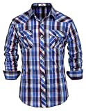 PAUL JONES Men's Plaid Button Down Casual Shirt