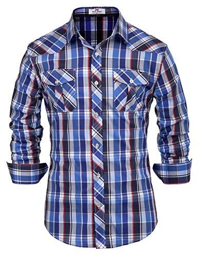 (Blue Classic Plaid Shirt for Men)