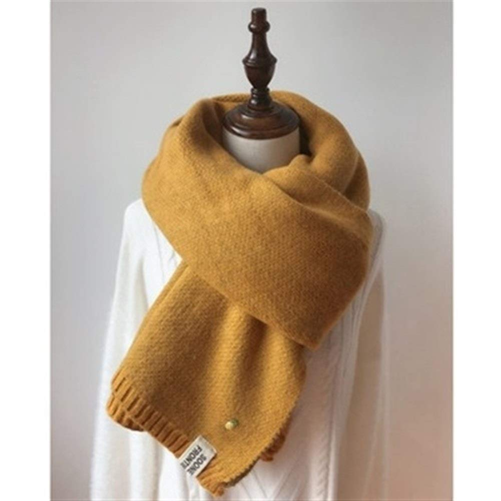 Dianyejiancai Women Solid Color Long Scarves Winter Thicken Warm Soft Shawls (Color : Yellow) by Dianyejiancai