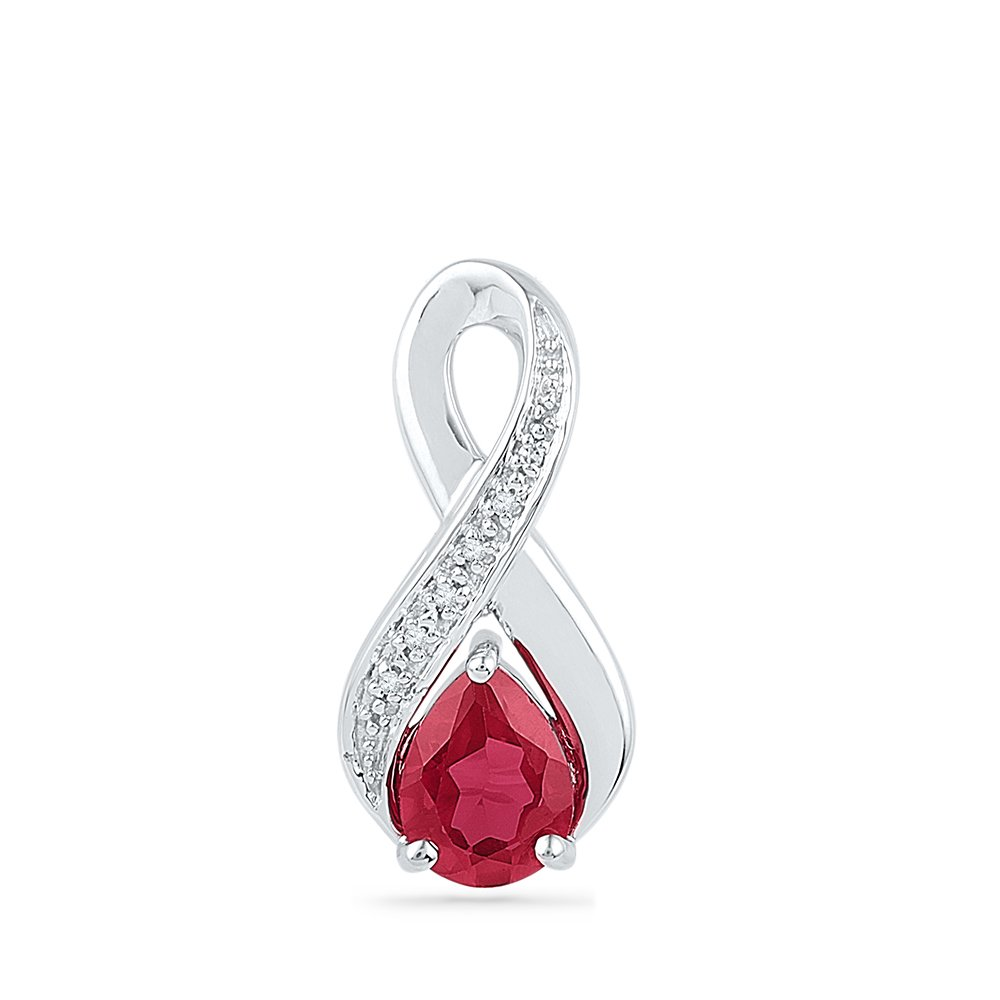 Jewel Tie 925 Sterling Silver Pear Round Red Simulated Ruby And White Diamond Prong Set Infinity Solitaire Pendant .02 cttw.