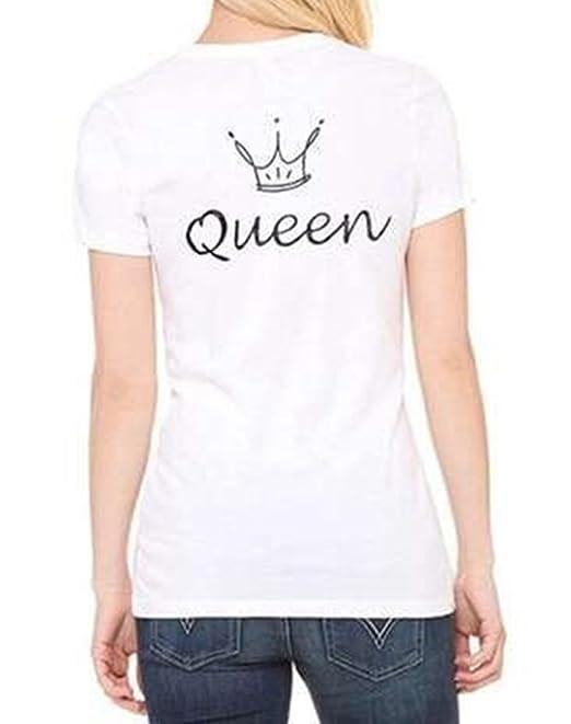 ZKOO Camisetas de Parejas King and Queen Corona Impresión de Camisetas de Manga Corta Hombre y Mujer Tops Camisas Blusa: Amazon.es: Ropa y accesorios