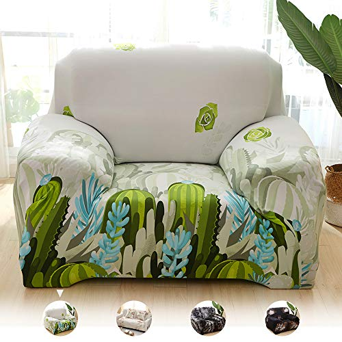Blackants Stretch Chair Slipcover, Slip Resistant Sofa Cover with Elegance Printed, Polyester Spandex Couch Slipcovers for Living Room Furniture Protector (Cactus, Chair)