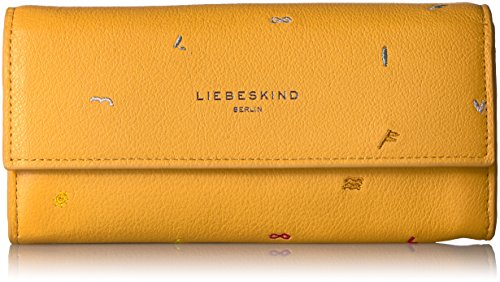 Liebeskind Berlin Women's Frida Leather Embroidered Flap Wallet Wallet, Amber Yellow, One Size by Liebeskind Berlin