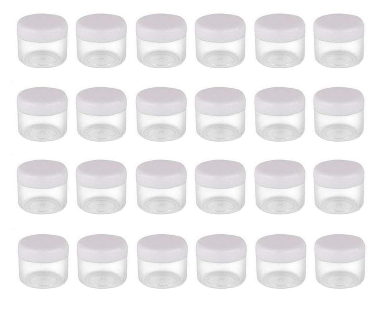 50PCS 20G ML 0.7oz Empty Refill Clear Plastic Sample Cosmetic Bottle Jar Pots Eyshadow Packing Storage Container With White Screw Lid for Travel Make Up Cream Lotion Nails Powder Gems Beads Jewelry