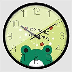 Creative Cartoon Black Border Small Frog Clock Face Wall Clock Mute Quartz Clock Art Fashion Bedroom Wall Clock (Size : L)