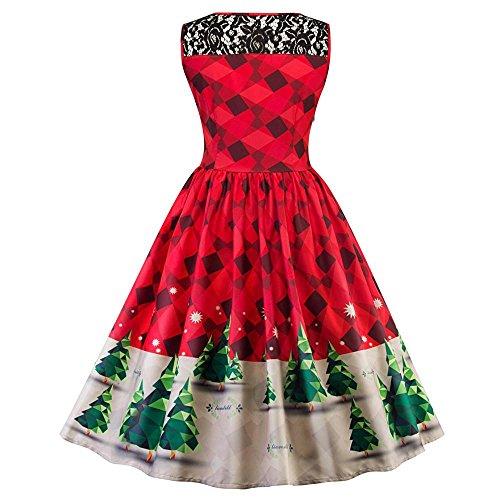 Kleid damen Kolylong® Frauen Elegant Spitze Weihnachten Kleid Retro ...