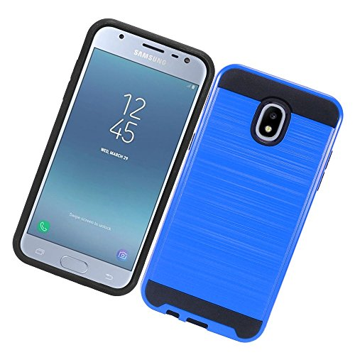 Compatible Case for Samsung Galaxy J3 Orbit 2018 / Achieve/ J3 Star/Express Prime 3/ Amp Prime 3 SM-J337 Brushed Aluminium Metal Finish Protective Dual Layer Shock Absorb Cover (Blue)