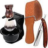 Shaving Kit 5 in 1 Men Beard Grooming Set - Professional Straight Edge Razor, Leather Strop, Shave Brush, Plastic Bowl, Safety Razor Stand, Manual Shaver Tool Gift Sets