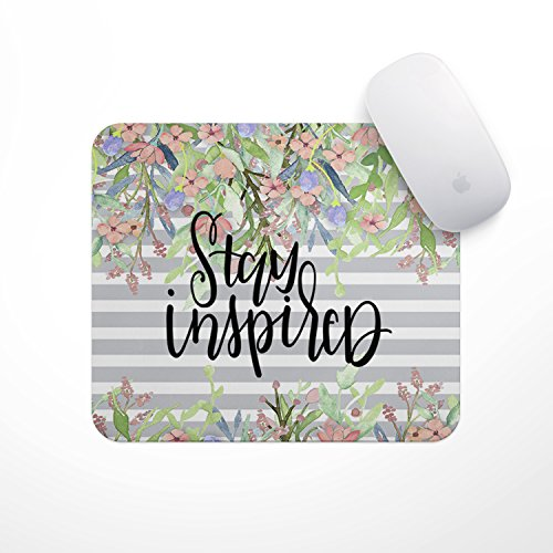 Inspirational Quote Mouse Pad- Grey Stripe Stay Inspired