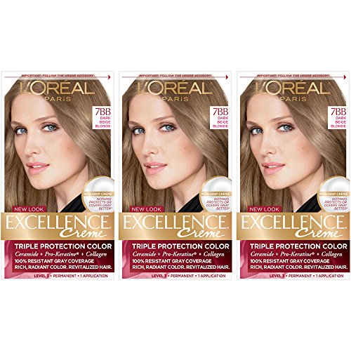 L'Oreal Paris Excellence Creme Permanent Hair Color, 7BB Dark Beige Blonde (Pack of 3)