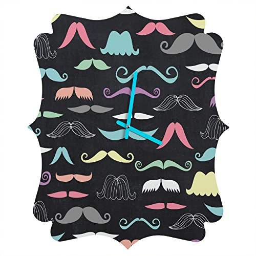 Deny Designs Mary Beth Freet, Moustaches, Quatrefoil Clock, -