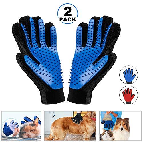 DAOXU Guantes Masaje para Mascotas Perros Gatos-Guante Suave para Cepillado y Eliminacion de Pelo - Guantes Eficientes para la Eliminacion de Pelo Suelto Mascotas con Pelo Largo y Corto (Azul)