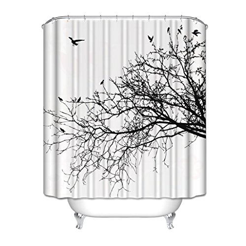 (HGOD DESIGNS Pictures Black and White Shower Curtain by, Real Tree Birch Branches Decor for Bird Decoration Lover Natural Life Fall Themed Bathroom Design with Nature Pattern, 7272 Inch)