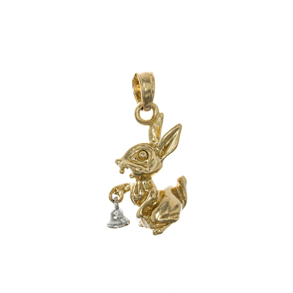 14k Yellow Gold Animal Charm Pendant, 3-D Bunny Rabbit with White Moveable Bell