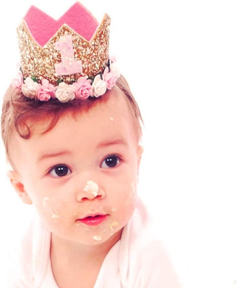 MOPHY Baby Princess Tiara Crown Baby Girls First Birthday Hat Sparkle Gold Flower Style with Artificial Rose Flower