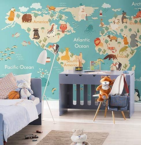 Original Animal Carte Du Monde 3d Dessin Animé Murale Papier Peint pour  Enfant Chambre de Bébé Jardin d\'enfants 3d Dessin Animé-450X300CM