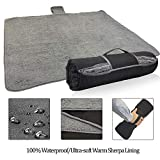 Tirrinia Waterproof Outdoor Blanket with Sherpa Lining, Windproof Triple Layers Warm Comfy Foldable for Camping Stadium, Sports, Picnic, Grass, Concerts, Car, Dog, 51''X 59'' - Machine Washable