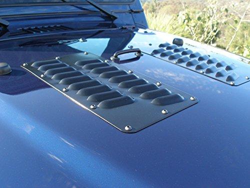 "RodLouvers Pair of Double Row 3""Angled Aluminum Hood Panels (Bolt-on) Kit Double Panel Hood"