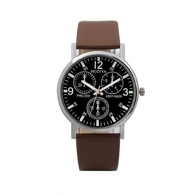 BBestseller Moda De Lujo Faux Leather Relojes De Cuarzo para Hombre Impermeable reloje Hombre Deportivos Watch (Marrón): Amazon.es: Relojes