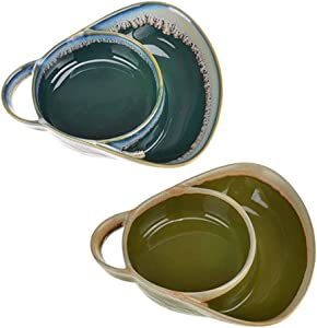 XXSLY Appetizer Bowls, Stoneware Soup Side Bowls, Vintage Look Ceramic Crockery, for Cooking, Kitchen, Cake Dinner, Banquet and Daily Use- Set of 2