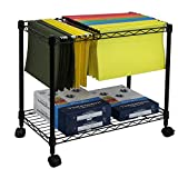 Oceanstar Metal Rolling File Cart, Black