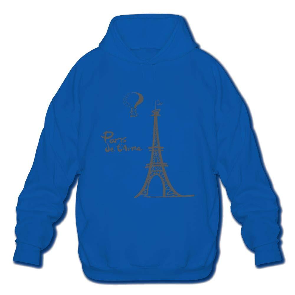 DH-MS Dress Mens Hoodies Eiffel Tower Print Cotton Long Sleeve Hooded Sweatshirt