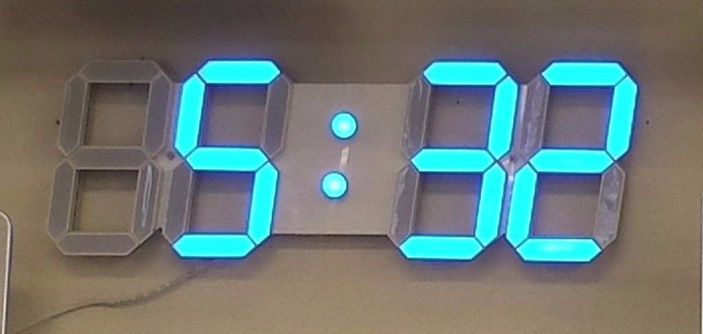 Large 4 Inch LED Digital Wall Clock With Blue Numbers 3D Design With Full Function Remote Control, Alarms and Timer