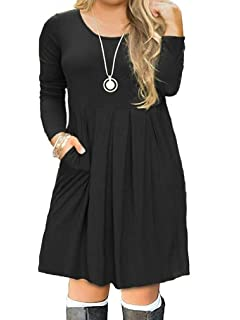 0aff1b9d8c6 VISLILY Women s Plus Size Long Sleeve Pleated Swing Dress with Pockets  XL-4XL