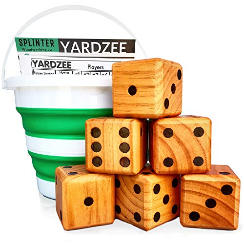 Splinter Woodworking Co Yardzee & Yardkle Giant Yard Dice Set (6 Dice) with Collapsible Bucket, Big Laminated Score Cards, & Dry Erase Marker | Weather & Water Resistant Backyard Lawn Game | Outdoor