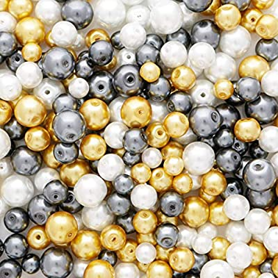 50 x glass beads imitation pearl mixed colours loose 8mm jewellery jewelry craft