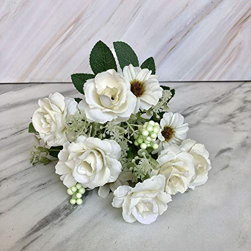 Gotian 30cm Artificial Fake Blooming Rose Flower Bridal Bouquet Wedding Party Home Decor (White)