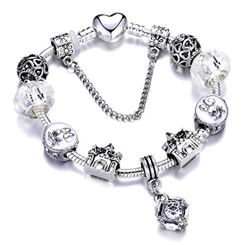 Ink White Silver Charms Bracelet Bangle for Women Crystal Flower Beads Bracelets Jewelry,Ae0275,19Cm
