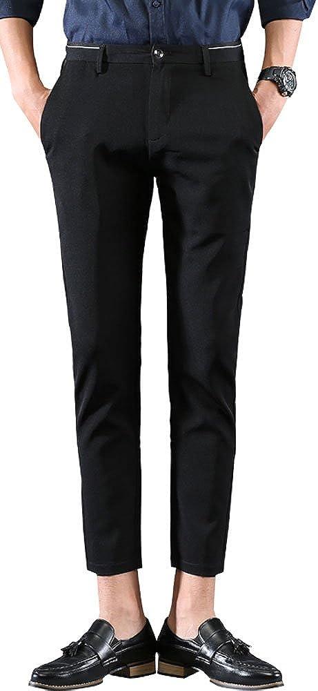 Plaid/&Plain Mens Casual Stretch Flat Front Dress Pants Slim-Tapered Suit Pants