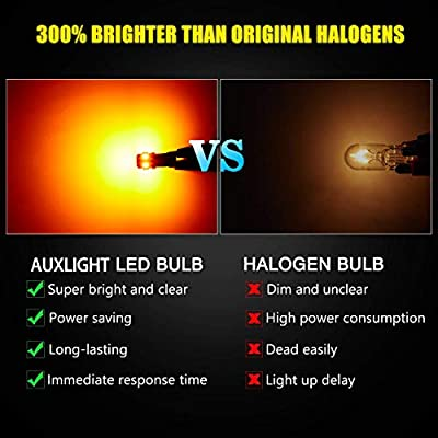 AUXLIGHT 194 168 2825 T10 LED Interior Light Bulbs Amber Yellow, Super Bright Replacement for Dome Map Door Trunk Courtesy License Plate Sidemarker Parking RV Camper Lights (Pack of 12): Automotive