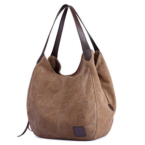 Canvas Totes Women's Brown Fashion Purses Handbags pocket Cotton Shoulder Multi Bags Hiigoo SwXnqRxzq