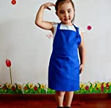 1 Pcs,Children kindergarten canvas painting canvas apron,baby feeding Eating playing aprons Artists Classroom painting Aprons smock,adjustable neckband,made of high quality material manufacturing sapphire blue free size length bust 53*50cm
