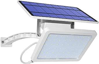 48LED Super brillante Luz de seguridad solar Exterior Proyector solar jardín Impermeable Farola solar con cable de 3m Iluminación del paisaje Lámpara solar para Patio Garaje Balcon Porche,White: Amazon.es: Iluminación