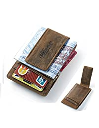 Teemzone Genuine Leather Money Clip Front Pocket Wallet with Magnet Clip Card Id Case (coffee)