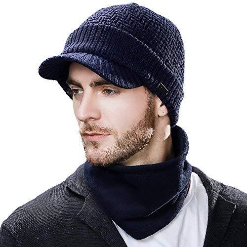 - 2 Piece Wool Knit Hat & Scarf Sets Visor Beanie Fleece Lined Cold Weather Winter Hat Newsboy Cap w/Neck Gaiter Navy Blue L